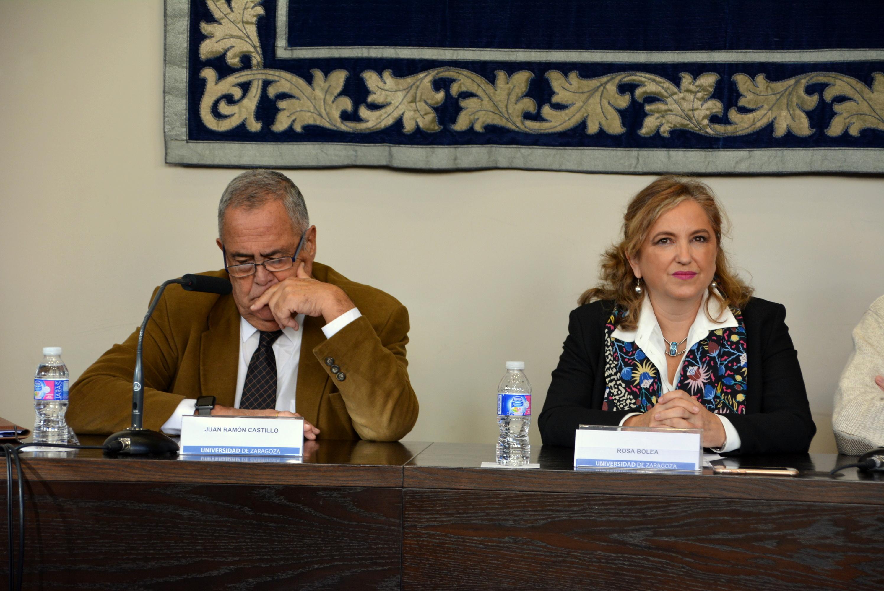 Conférence de presse au Paraninfo de l'Université de Saragosse.
